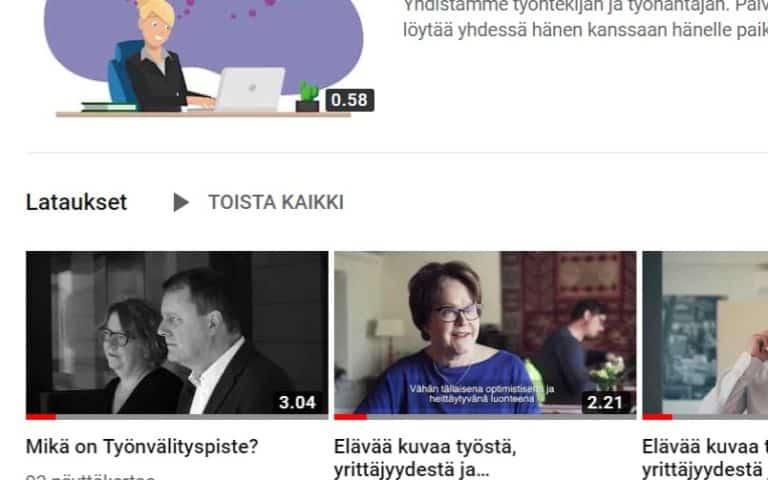 Työnvälityspisteen Youtube kanava on nyt avoinna